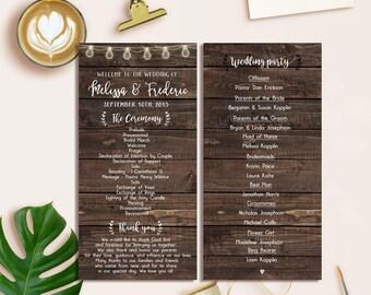 Rustic Program Wedding Printable, Wedding Program, Rustic Place Card, Place Card Printable, Vintage Place Cards, Wedding Vintage Program