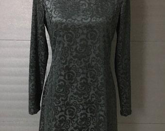 90s Black Brocade Velvet Mini Dress| 90s Mini Dress| Little Black Dress| Party Dress| Raised Silk Velvet| 90s Velvet