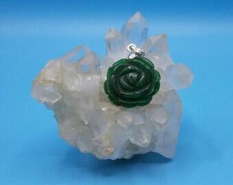 Amazonite Green Rose Pendant.