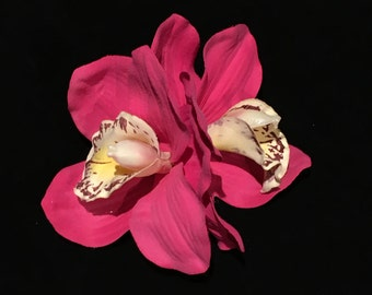 Hot Pink Double Cymbidium Orchid Pin Up Hair Flower Clip