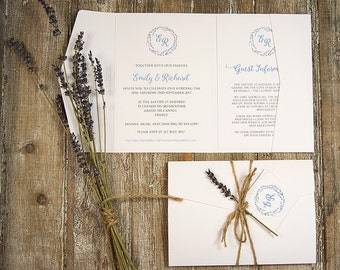 Rustic lavender pocketfold wedding invitation with twine and tag / lavender wreath / barn wedding / pocket invitation / country wedding