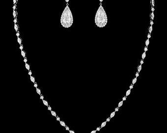 New Bridal CZ  Pear Shape Crystal  Necklace and Matching Pierced Earring Set