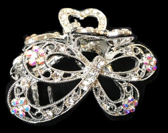 New Silver Clear Rhinestone 2''  Hair Clip Claw
