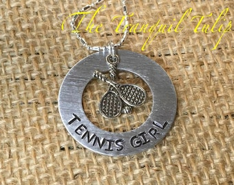 Tennis Girl Sports Jewelry Hand Stamped Necklace