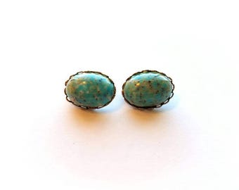 Vintage Silver Oval with Robins Egg Blue Speckled Stone Clip On Earrings