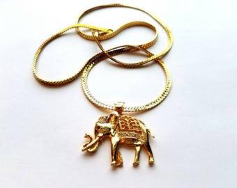 Vintage Gold Harringbone Necklace with Elephant Pendant with Rhinestones