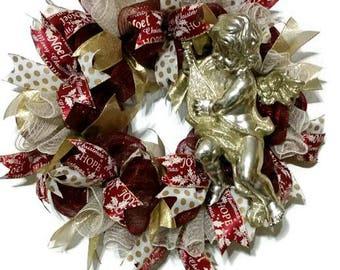 Christmas Angel Deco Mesh Wreath, Burgundy and Antique Gold Christmas Wreath, Deco Mesh Christmas Wreath