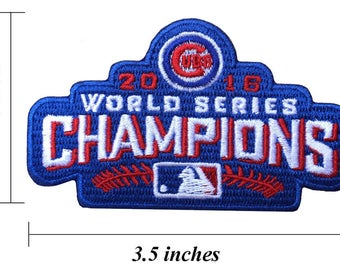 "Chicago Cubs World Series Champions 3.5"" Embroidered Iron On Patch."