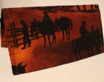 Check book covers Horse cowboys Western theme cloth new handmade  coupon note holder