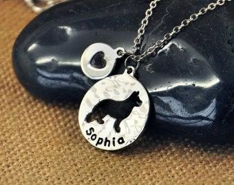 German Shepherd Dog necklace, Personalized Dog Necklace,Custom Dog Name Pendant , Dog Charm, Pet Jewelry
