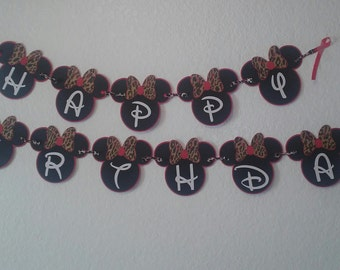 Red & Leopard Minnie Birthday banner,Red Banner, Leopard Minnie,Red Minnie, Leopard bow Minnie,