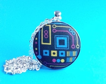 Science gift - colourful circuit board necklace - nerdy, geeky gift - silver plated geek fabric pendant - geekery - printed fabric
