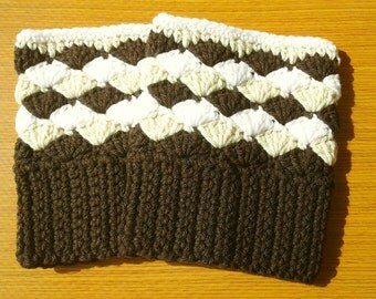 Crochet Boot Cuffs: Brown, Heather and White