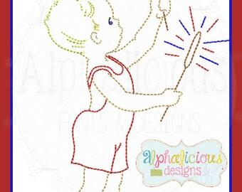 Vintage Sparkler Boy Design- Fourth of July- Memorial Day- Digitized Embroidery Design