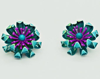 Teal Earrings  Purple Earrings  Enamel Clip on Earrings Fashion Jewelry Vintage Jewelry