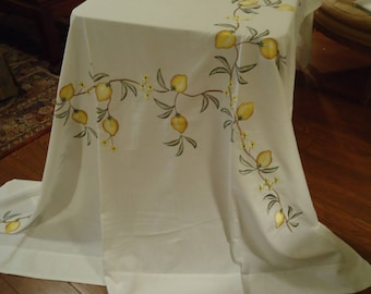 Vintage EMBROIDERED Tablecloth  with Lemons & Mitter Cornors, 54 by 72 inch, Dinning, Desert Table Gift Tomorrow's Heirloom