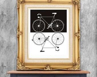 Two bikes art print, digital download. Modern bicycle, bike lovers, graphic bike design, black and white, modern art bikes
