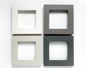 4x4 Picture Frame Collage Set - Shades of Gray/Beige - Frames for 4x4 Tiles, Instagram Prints or Needlework. 4x4 photo frame set.