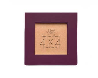 4x4 Picture Frame - Burgundy Wine - Frame for 4x4 Tiles, Instagram Prints or Needlework. Solid Wood Frame.