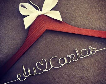 Customised Wedding Coat Hanger with love heart - Bride & Grooms names