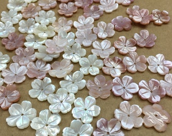 10pcs 15mm Natural MOP Flower Beads White Mother of Pearl Carved  Flower Beads BKHM010