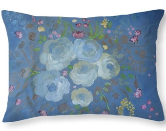 """Faded Blues Throw Pillow - faded blue roses and wild flowers on faded denim color poplin 20"""" x 14"""" pillow cover & pillow, double sided"""