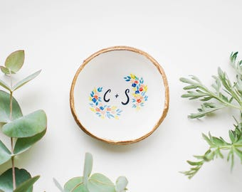 Personalized Botanic Jewelry Dish // Ring Dish // Catch all // Personalized Gift // Personalized // Valentines Gift // Bridesmaids //