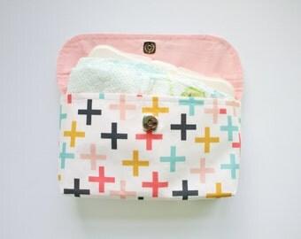Multi Colored Cross Diaper Clutch