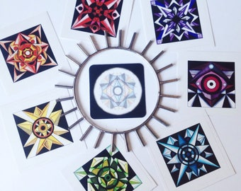 Chakra Sticker Set | Sacred Geometry Sticker Set | Self Care + Meditation | Yoga & Reiki Artwork |
