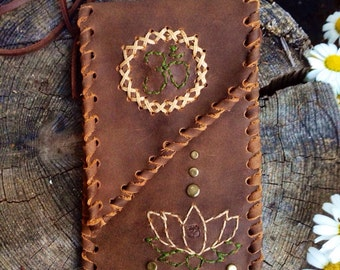 Smartphone leather bag, iphone 6 plus bag, lotus flower bag, hippie, boho style