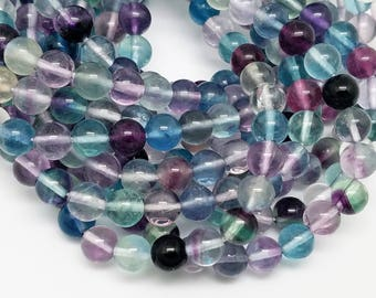 8 mm , Rainbow Fluorite Smooth Round Beads , 15.5 Inch , 52 Beads