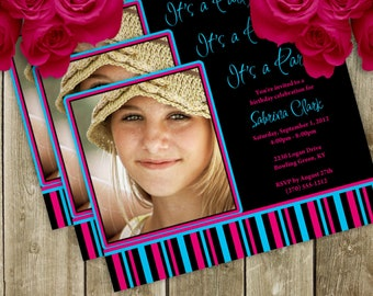 Hot Teen Birthday Party Invitation - 4 Different Colors