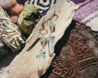 Opalite Sun Pendulum Earrings