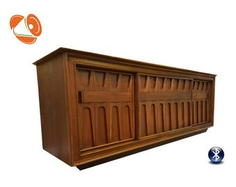 Broyhill Brasilia Style Stereo Console Mid Century Modern Turntable with All New Modern Internals