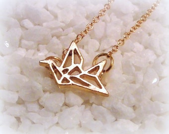 Necklace origami bird crane