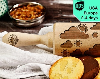 Sunny - laser engraved rolling pin, embossing rolling pin