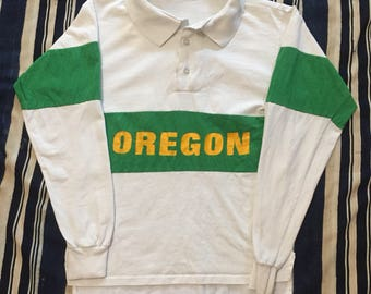 Vintage 1980s Oregon Ducks Rugby Style Shirt Mens XS