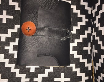 Black Leather Journal, with handmade leather button