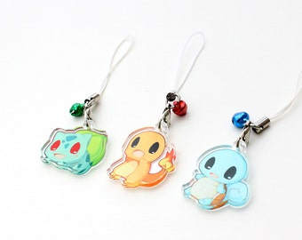 "Pokemon Kanto Starters - Bulbasaur, Charmander, Squirtle 1"" Mini Acrylic Charm with Phone Strap (Double Sided Front & Back)"