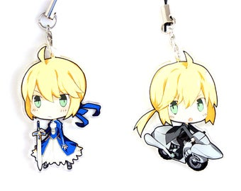 Saber - Fate Stay Night / Fate Zero Hand-Drawn Double Sided Front & Back Anime Acrylic Charms with Phone Strap