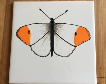 Ceramic Tile Painting, Original. Orange tip butterfly bug creepie crawley insect plaque