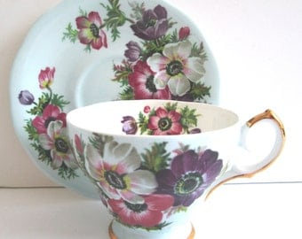 Vintage Queen Anne Tea Cup And Saucer/Bone China/English Tea Cup And Saucer
