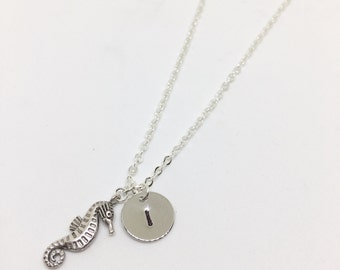 Silver Plated Seahorse Necklace - Optional Extra Personalised Initial Disc