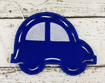 Car Lacing Card, Quiet Game, Toddler Toy, Travel Toy, Party Favor