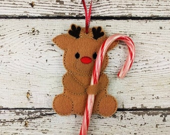 Reindeer Candy Cane Holder Ornament