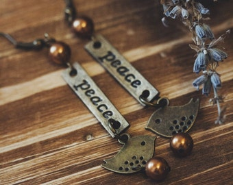 Vintage Retro Hippy Bronze Peace Tag Birds charm earrings