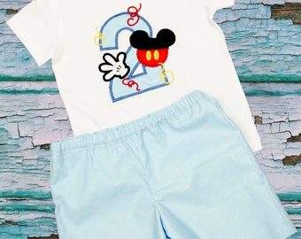 Boys short shirt outfit boys birthday outfit boys Mickey shirt age name outfit boys name age toddler outfit  boys short shirt age
