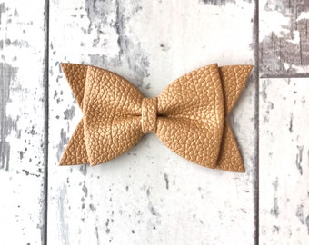 Camel Daphne faux leather bow, baby headband, leather bow, popular headbands, non marking, newborn headband, nylon headband