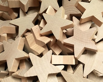 "Unfinished Wood Stars 2"" x 2"" x 1/2"""