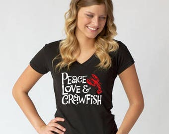 Peace, Love & Crawfish T shirt New Orleans Louisiana T shirt